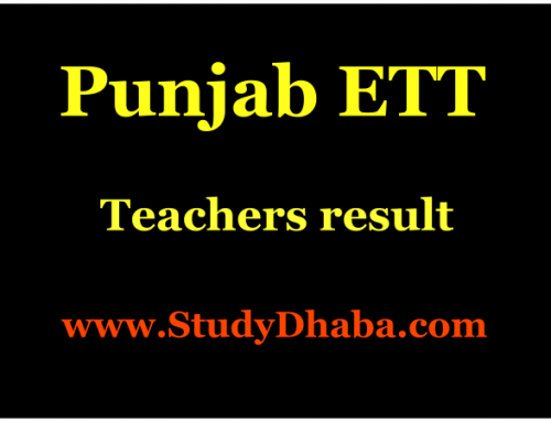 Punjab ETT Teachers Exam 2016 Results declared