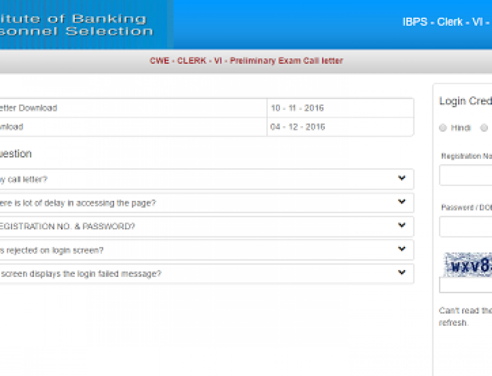 Download IBPS Clerk 2016 Admit card Pdf -IBPS VI Call Letter Prelims