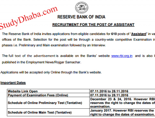 Download RBI Assistant notification Pdf 2016- 610 Posts Apply Online