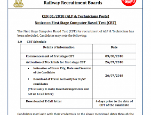 RRB ALP Technician 2018 First Stage Exam Start from 09 August 2018
