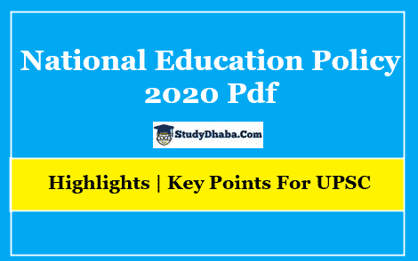 National Education Policy 2020 UPSC PDF Download | Highlights
