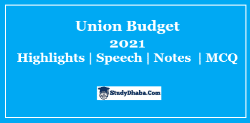 India Budget Speech 2021 Pdf Download | English & Hindi