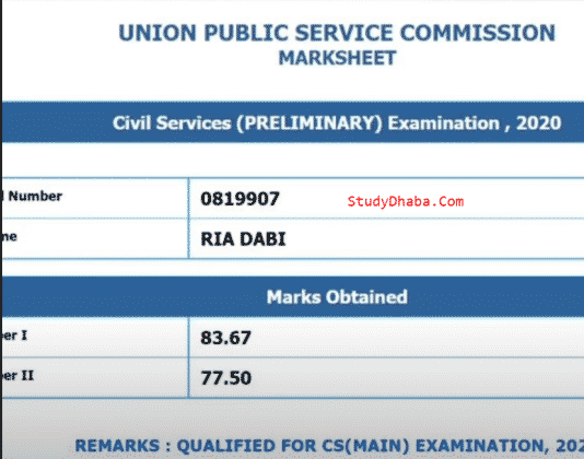 Ria Dabi UPSC Marksheet, Age, Attempts, Optional, Interview, Coaching